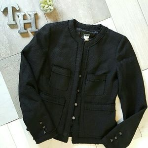 J Crew Factory NWT Black Raw Hem Jacket Sz 6